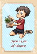 Idiom open a can of worms Stock Illustration