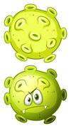 Close up bacteria front and back view - stock illustration