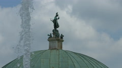The statues on top of the Temple of Diana in Munich Stock Footage
