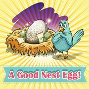 Idiom good nest egg - stock illustration