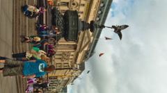 Vertical time-lapse of people at Piccadilly Circus circa October 2011 in London. Stock Footage