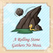 Rolling stone gathers no moss Stock Illustration