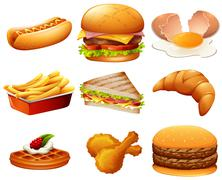 Different kind of fastfood - stock illustration
