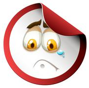 Crying face on round sticker Stock Illustration