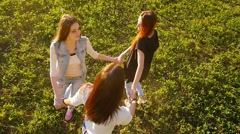 Friends,  girls, caucasians, having fun in nature, slow motion. Stock Footage