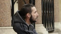 Close-up of an homeless Stock Footage