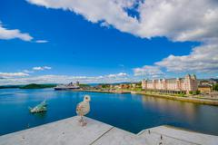 OSLO, NORWAY - 8 JULY, 2015: Excellent panoramic view over fjord of Oslo with - stock photo