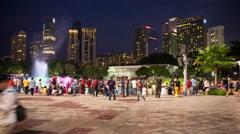 Time Lapse Outside  Petronas Towers at Night - Kuala Lumpur Malaysia - stock footage