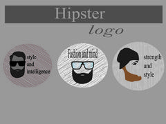 logo hipster in gray scale for your purpose in vector format - stock illustration