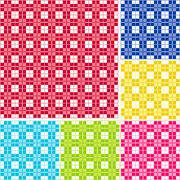 Seamless Gingham, Six colors Stock Photos