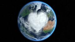Hearts and clouds. Morph. Earth From Space. - stock footage