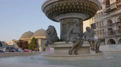 Fountain Philip of Macedonia in Skopje Stock Footage