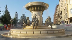 Fountain of the Mothers in Skopje Stock Footage
