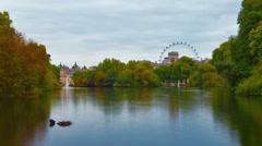 Panning shot of Saint James Park waterway time-lapse in London Stock Footage