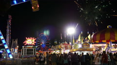 County Fair - Midway Amusement Park Rides (Editorial). Stock Footage