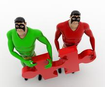 3d two superhero s holding red jigsaw puzzle piece concept - stock illustration
