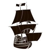 Silhouette sailboat - stock illustration