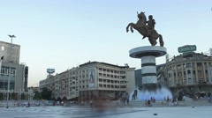 Alexander the Great fountain in Skopje Stock Footage