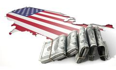 Recessed Country Map And Cash USA - stock illustration