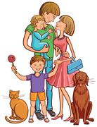 Happy family with cat and dog Stock Illustration