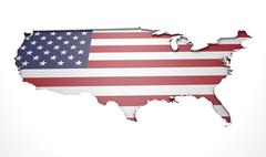 Recessed Country Map USA - stock illustration