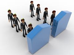3d men in two queue lead to two different doors concept - stock illustration