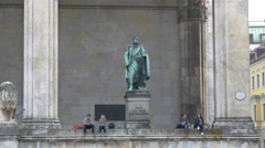 The statue of Karl Wrede at the Field Marshall's Hall in Munich Stock Footage