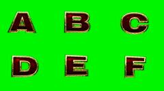 Stock Video Footage of loop golden alphabet. chromakey