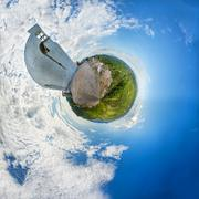 Panoramatic landscape in abstract 360 planet view like earth - stock photo