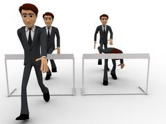 3d man cross barrier with different ways concept - stock illustration