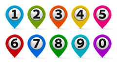 Map pointers with numbers set Stock Photos