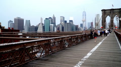 New York City, USA-Jul 6,2015: Walking on the Brooklyn bridge, New York City Stock Footage