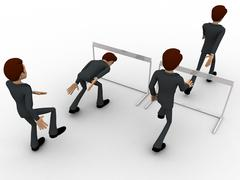 3d man cross barrier with different ways concept Stock Illustration