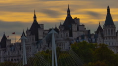 Panning time-lapse of The Victoria Embankment in London Stock Footage