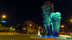 HD 30p The runner (Dromeas) sculpture in Athens,Greece, night panning timelapse Stock Footage