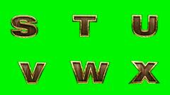 Loop golden alphabet. chromakey Stock Footage