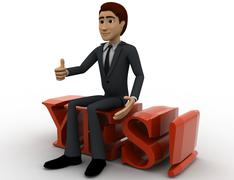 3d man sitting on yes text with exclamation mark concept - stock illustration