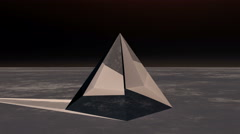 4K rotation glass pyramid from sky to ground in the wilderness,Sci-fi world. Stock Footage