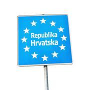 Stock Photo of Border sign of croatia, europe