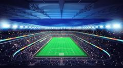 general football stadium with fans in the stands - stock illustration