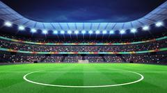 lighted football stadium middle with fans in the stands - stock illustration
