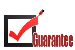 Check mark with guarantee word Stock Illustration
