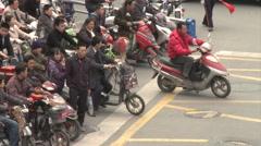 China bike traffic, scooters, Chinese city Stock Footage