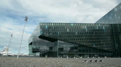 Panning shot of the Harpa concert hall and conference centre in Reykjavík Stock Footage
