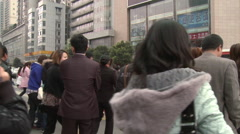 Chinese business district, Chengdu, China Stock Footage
