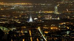 Aerial view of Turin in Italy with the illuminated Mole Antonelliana Stock Photos