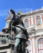Historic palace of Turin city with bronze equestrian statue Stock Photos