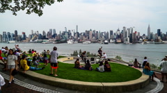 New York City, USA-Jul 6,2015: Manhattan skyline and people for leisure, NYC Stock Footage