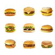 Hamburgers and cheeseburgers - stock photo