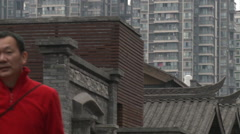 Ancient alley, tourists, China Stock Footage